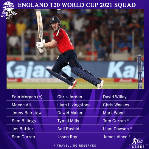 England Team Squad for ICC T20 World Cup 2021