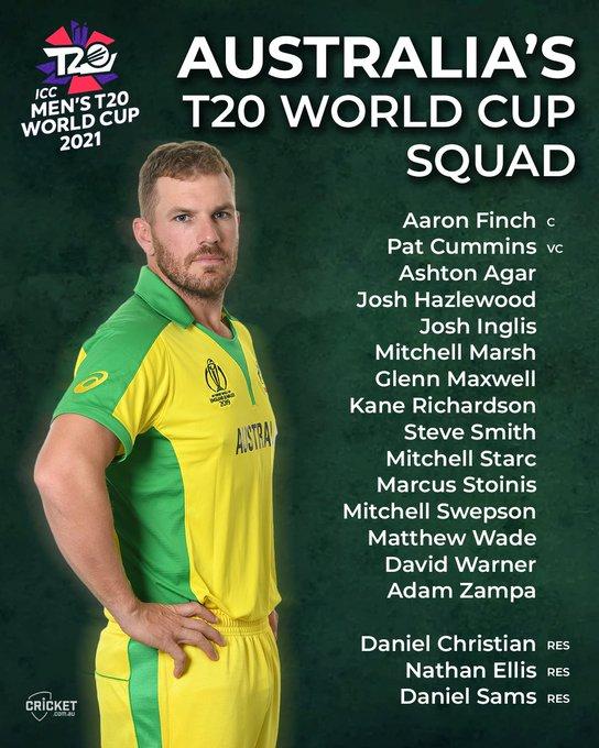 Australia Team Squad for ICC T20 World Cup 2021