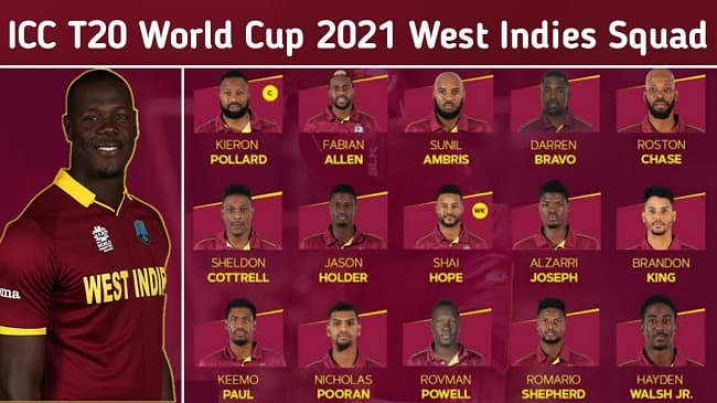 West Indies announce (15-member) Team Squad for ICC T20 World Cup 2021